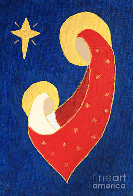 Nativity On Blue Poster by Pattie Calfy