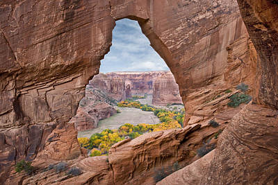 Natural Arch And River Valley Canyon De Poster by Tom Vezo