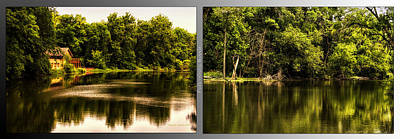 Nature Center 01 Salt Creek In August Fullersburg Woods 2 Panel Poster by Thomas Woolworth