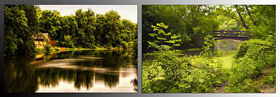 Nature Center 01 With Bridge Fullersburg Woods 2 Panel Poster by Thomas Woolworth