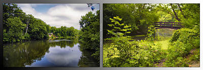 Nature Center 02 With Bridge Fullersburg Woods 2 Panel Poster by Thomas Woolworth