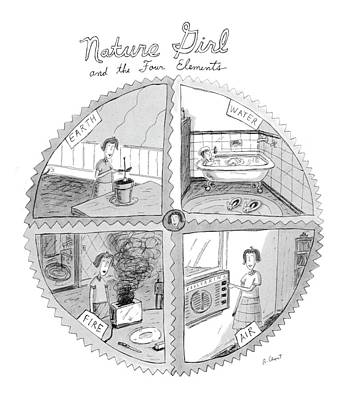 Nature Girl And The Four Elements Poster by Roz Chast