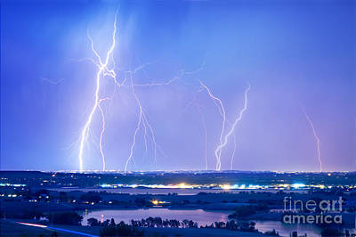 Natures Light Show Over The Boulder Reservoir  Poster by James BO  Insogna