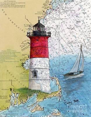 Nauset Beach Lighthouse Ma Nautical Chart Map Art Cathy Peek Poster by Cathy Peek