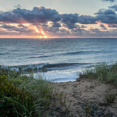 Nauset Light Beach Sunrise Square Poster by Bill Wakeley