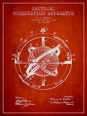 Nautical Observation Apparatus Patent From 1895 - Red Poster by Aged Pixel