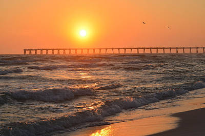 Navarre Beach And Pier Sunset Colors With Birds And Waves Poster