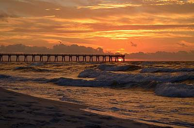 Navarre Pier At Sunrise With Waves Poster
