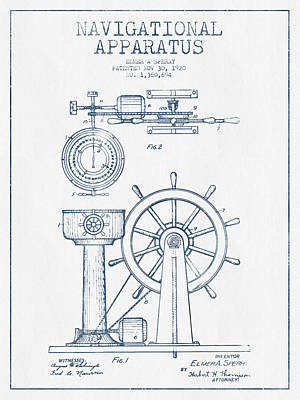 Navigational Apparatus Patent Drawing From 1920  -  Blue Ink Poster