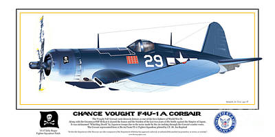 Poster featuring the drawing Navy Corsair 29 by Kenneth De Tore