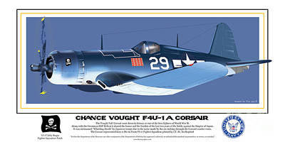 Poster featuring the drawing Navy Corsair 29 On Blue by Kenneth De Tore