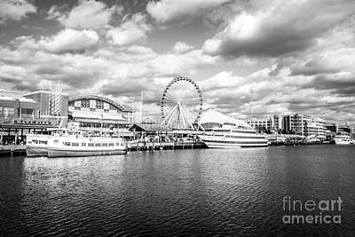 Navy Pier Black And White Photo Poster