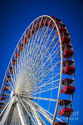 Navy Pier Ferris Wheel In Chicago Poster by Paul Velgos