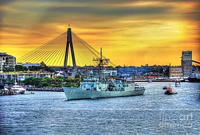 Navy Ship And Anzac Bridge At Sunset Poster by Kaye Menner