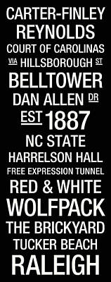 Nc State College Town Wall Art Poster