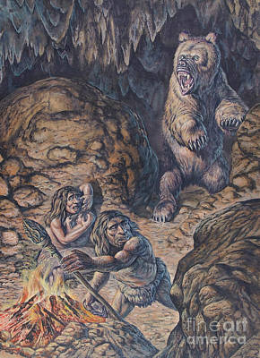 Neanderthal Humans Confronted By A Cave Poster