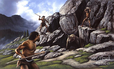 Neanderthals Hunt A Cave Bear Poster by Jerry LoFaro