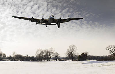 Nearly Home - Lancaster Limping Back In Winter Poster by Gary Eason