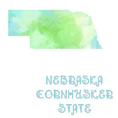 Nebraska - Cornhusker State - Map - State Phrase - Geology Poster