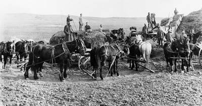 Poster featuring the photograph Nebraska Threshing, 1886 by Granger