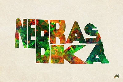 Nebraska Typographic Watercolor Map Poster