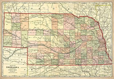 Nebraska Vintage Antique Map Poster