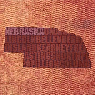 Nebraska Word Art State Map On Canvas Poster