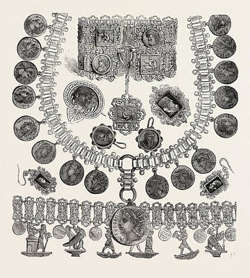 Necklet, Bracelets, Earrings, Brooches Oxidized Silver Poster by Egyptian School