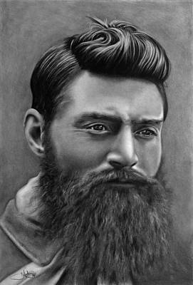 Ned Kelly Portrait Drawing Poster