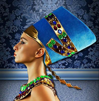 Poster featuring the digital art Nefertiti 2 by Karen Showell