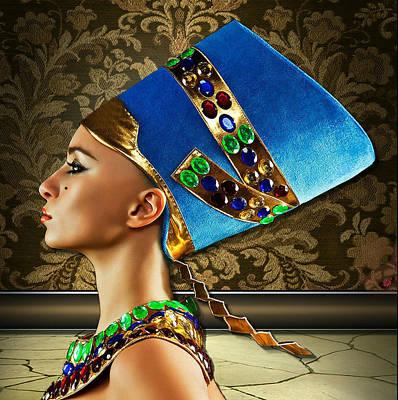 Poster featuring the digital art Nefertiti by Karen Showell