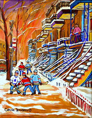 Neighborhood Street Hockey Game Last Call Time For Dinner  Montreal Winter Scene Art Carole Spandau Poster by Carole Spandau