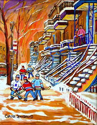 Neighborhood Street Hockey Game Last Call Time For Dinner  Montreal Winter Scene Art Carole Spandau Poster