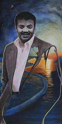 Neil Degrasse Tyson- Shore Of The Cosmic Ocean Poster by Simon Kregar