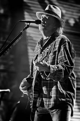 Neil Young Singing And Playing Guitar In Black And White Poster