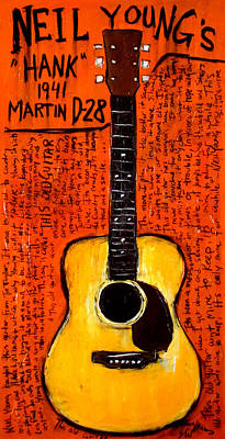 Neil Youngs Hank Martin Guitar Poster by Karl Haglund