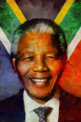 Poster featuring the digital art Nelson Mandela 1918-2013 by Kai Saarto