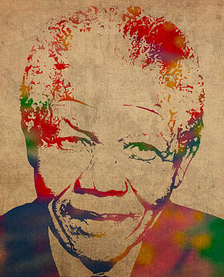 Nelson Mandela Watercolor Portrait On Worn Distressed Canvas Poster