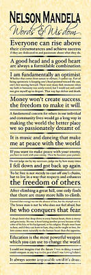 Nelson Mandela Words And Wisdom - Vertical Poster