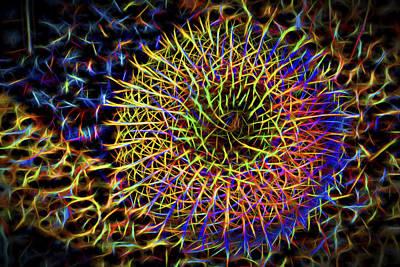 Neon Barrel Cactus Poster