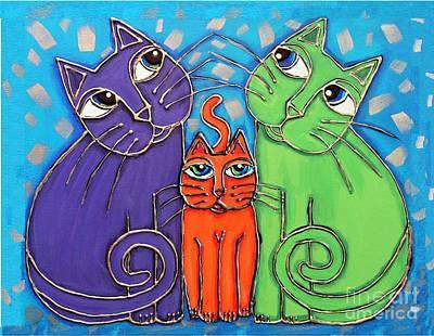 Neon Cat Trio #1 Poster