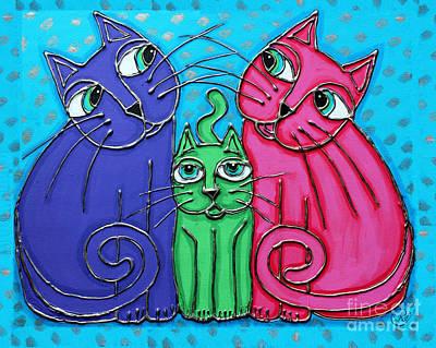 Neon Cat Trio #2 Poster