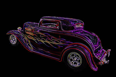 Neon Flaming 1932 Ford Coupe Poster by Gill Billington