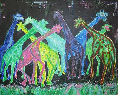 Poster featuring the painting Neon Longnecks by Diane Pape