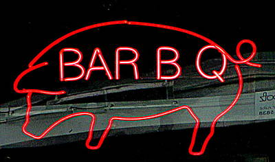 Neon Pig Poster by Randall Weidner