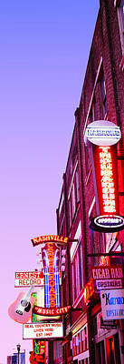 Neon Signs At Dusk, Nashville Poster by Panoramic Images