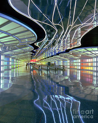 Neon Walkway At Ohare Poster by Martin Konopacki