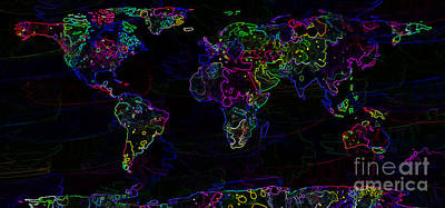 Neon World Map Poster