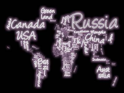 Neon World Text Map Poster by Dan Sproul