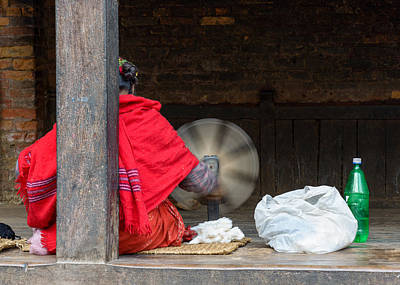 Nepalese Woman Spinning Wool Poster by Dutourdumonde Photography